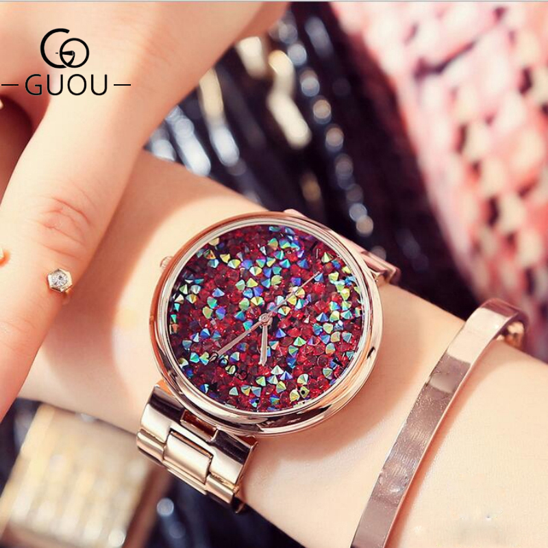 GUOU Women Watches Top Brand Luxury Colorful Diamond Wrist Watches Fashion Shiny Rhinestone Watch Rose Gold Clock reloj mujer