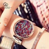 Guou relógios femininos marca superior luxo colorido diamante relógios de pulso moda strass brilhante relógio de ouro rosa reloj mujer|mujer|mujer reloj|mujeres tops -