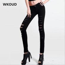 9ff69394b15e WKOUD Women's Ripped Jeans Holes Solid Low Waist Denim Pencil Pants Yellow Stretch  Slim Trousers Female Casual Wear P8414