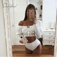 Ordifree 2019 Summer Women White Lace Blouse Long Sleeve Emb
