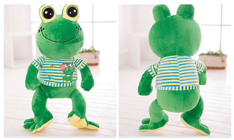 1pc 65cm cute stripe clothes frog soft plush doll pillow creative funny stuffed toy sweet girl boy birthday children gift couple frog plush toy frog prince doll toy doll wedding gift ideas children stuffed toy
