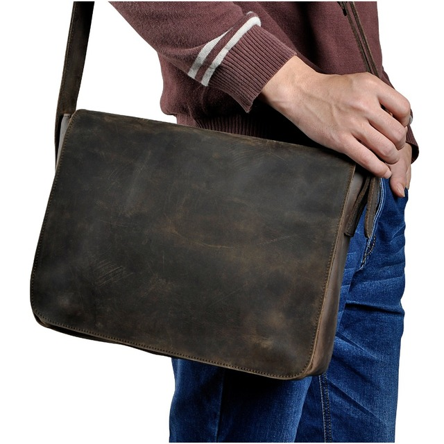 $ US $48.45 New Fashion Real Leather Male Casual Messenger bag Satchel cowhide 13