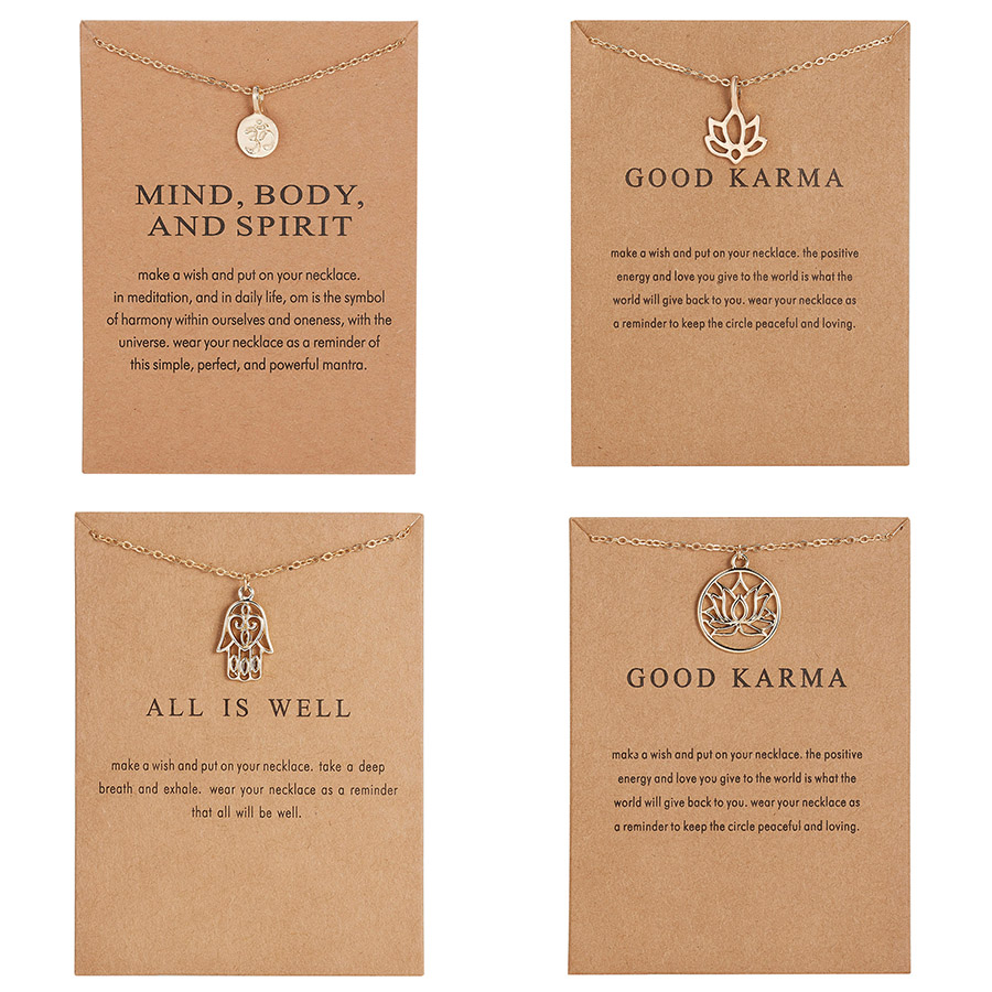 Fashion Jewelry Good Karma Happy Lotus Choker Necklace Alli is Well Heart Love Palm Family Pendant Short Clavicle Necklace