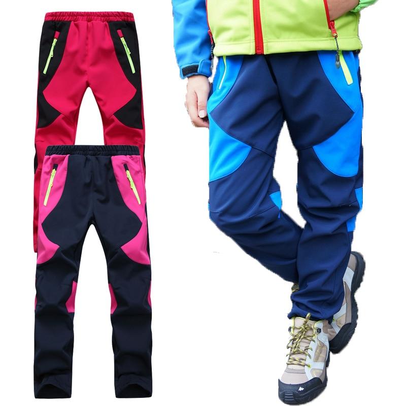 1025d8572322ff Winter Fleece warm Children Hiking Pants For Boys Girls Waterproof Skiing  Trousers Softshell Trekking Climbing Pants