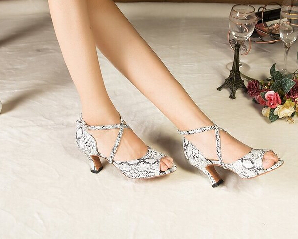 Wholesale Ladies White Snakeskin Print Ballroom font b Dancing b font Shoes Latin SALSA Shoes for