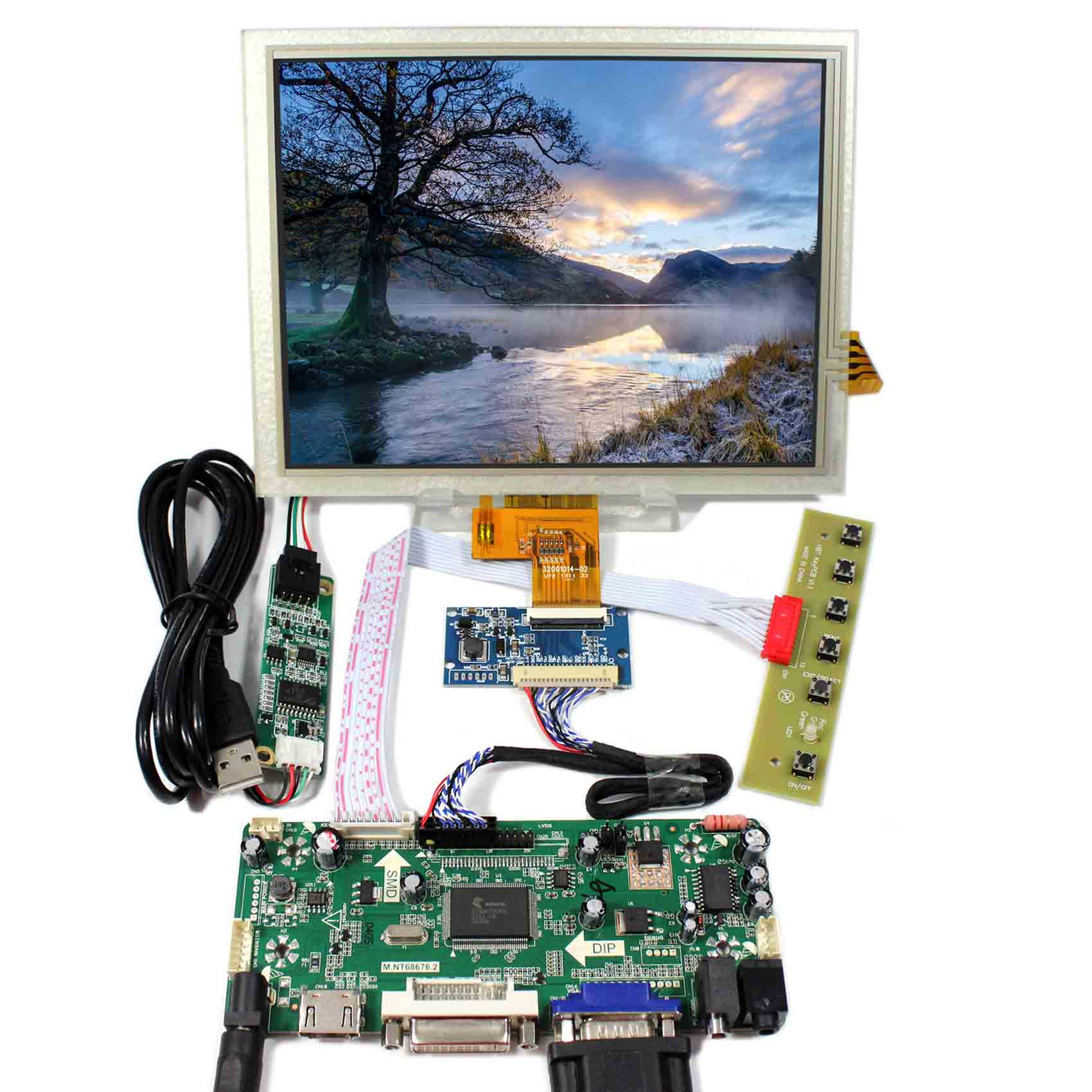 HDMI+VGA+DVI+Audio Controller Board With 8inch 1024x768 EJ080NA-04C Touch LCD Screen hdmi vga av audio usb lcd controller board 8inch 800x600 ej080na 05a lcd screen