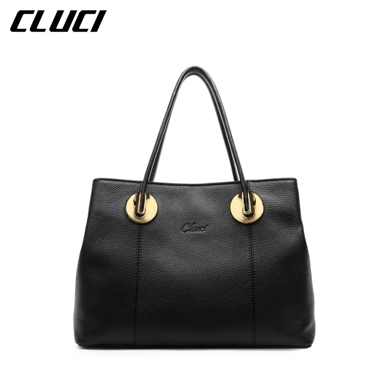 CLUCI Women's Luxury Top-handle Handbags Genuine Leather Fashion High Quality Tote Bags Female Brand Hand Bag Shoulder Bags cluci women genuine leather luxury handbags vintage zipper black red gold purple blue shoulder bag top handle bags neverfull