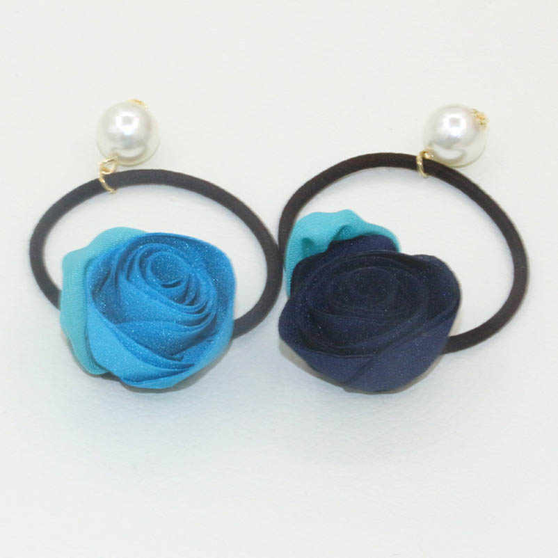 Blue Black Cloth Rose Flower Artificial Pearl Elastic Hair Bands Ponytail Holders Headwear Hair Accessories for Women
