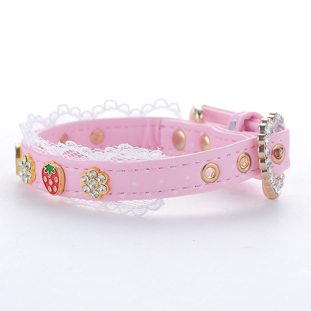 PU Pink Strawberry Dog Collar Adjustable Lace Princess Style Puppy Collars for Small Medium Size Dog Cat Drop Shipping