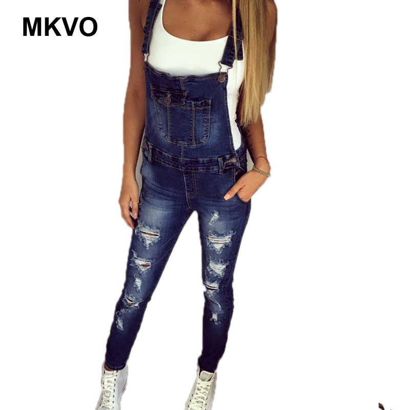39348fa71f3 Shoulder Strap Broken Denim Jumpsuit Women s Casual Denim Jumpsuit Ladies  Loose Jeans Rompers Overall Playsuit With