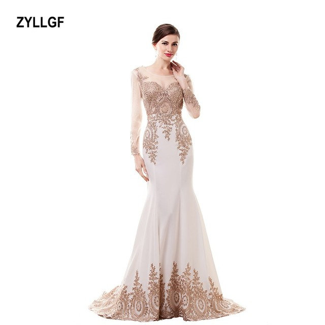 ZYLLGF 2017 Fashion White Dresses With Champange Crystal Pattern Handmade  Mermaid O-neck Floor-Length Evening Dress GS050 c6fde6c637ad