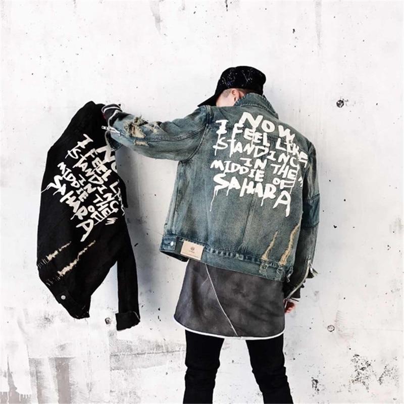 2019 Denim Jacket Men Streetwear Hip Hop Vintage Ripped Hole Zipper Jeans Jacket Motorcycle Hip Hop Autumn Washed Jacket Coat