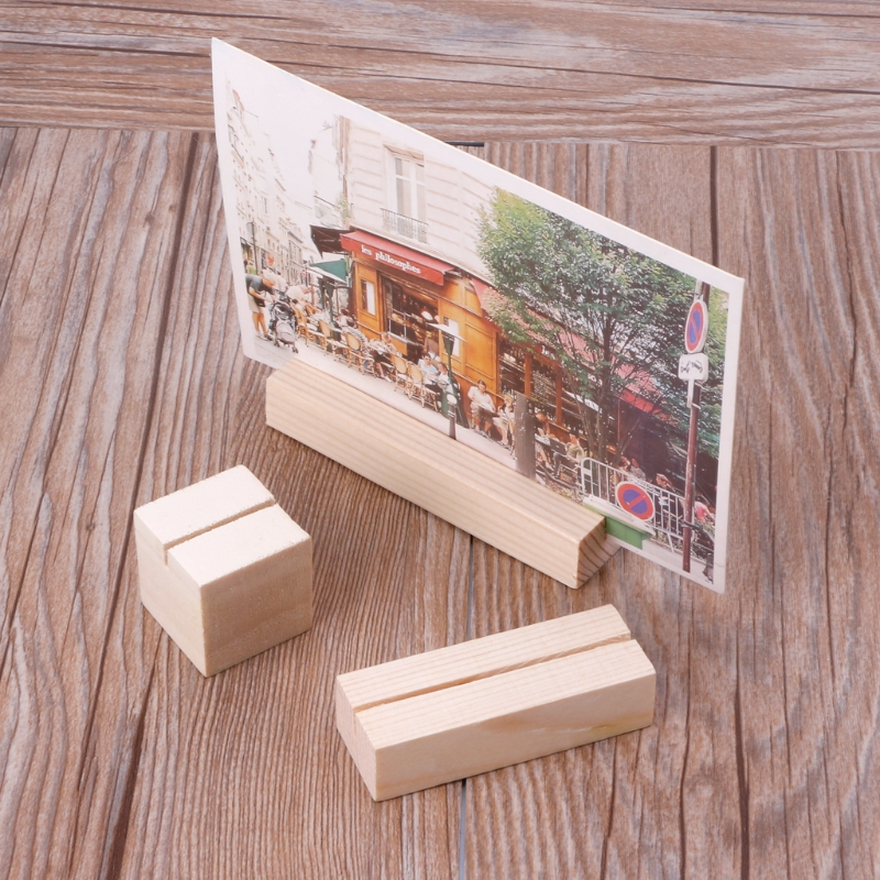 Natural Wood Memo Clips Photo Holder Clamps Stand Card Desktop Message Crafts in Card Holder Note Holder from Office School Supplies