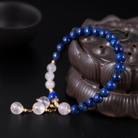 LouLeur 14K gold rose quartz lapis bracelets r natural pink crystal rose quartz lapis bracelets for women fashion jewelry gift