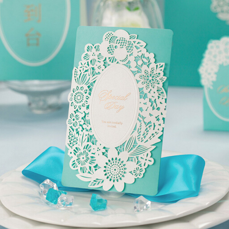 50pcs Blues Whtie Wedding Invitation Card Envelope Delicate