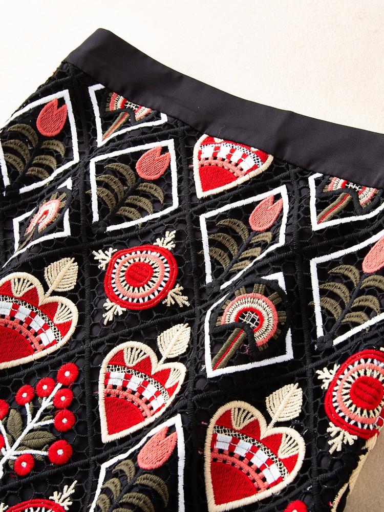 Nuevo Bordado Negro Floral Verano De Temperamento Faldas Salvaje Primavera Y Elegante Ziwwshaoyu Indie Mujeres Falda Folk Rq7O5n