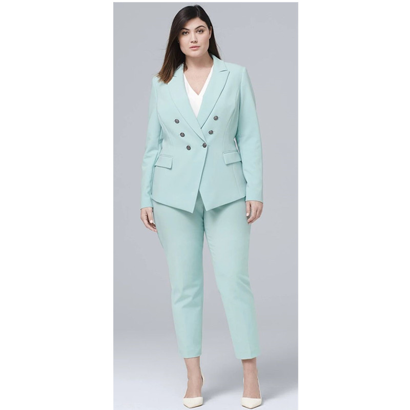 Casual 2 Piece Mint Women Pants Suit Double Breasted Blazer Long Sleeve Business Formal Set Ladies Party Outfit Plus Size