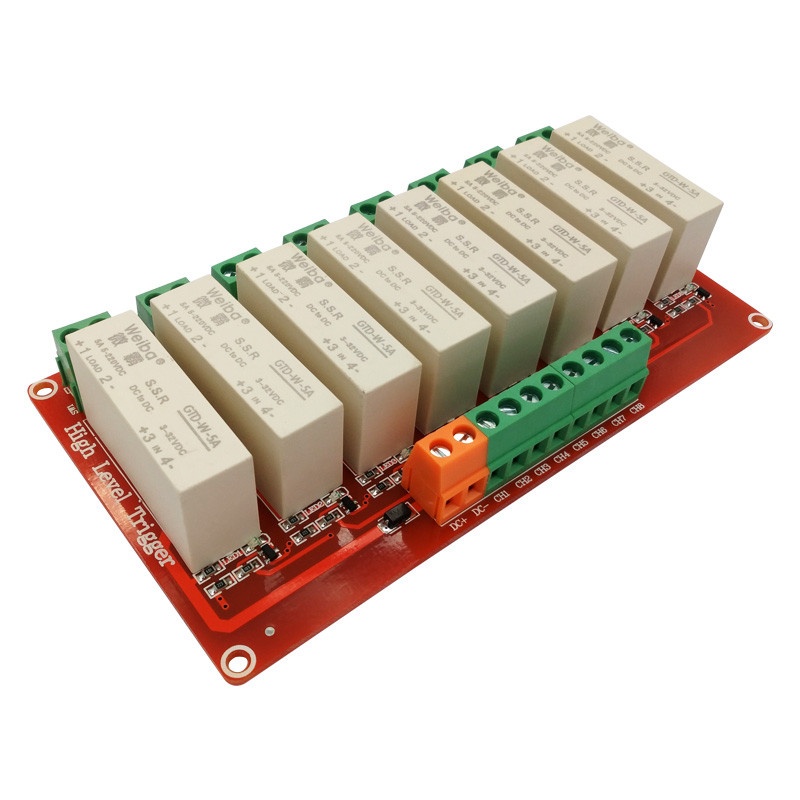 8 channel solid-state relay module 5A high level trigger DC controlled DC FOR PLC automation equipment control