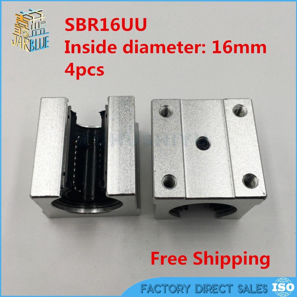 Free Shipping 4pcs SBR16UU aluminum block 16mm Linear motion ball bearing slide block match use SBR16 16mm linear guide rail