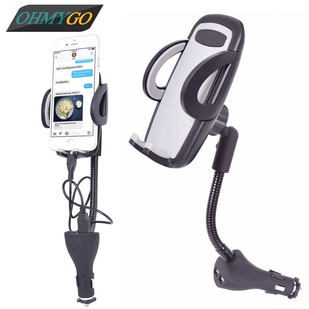 imágenes para Cargador del teléfono del coche universal de montaje de doble enchufe usb para el iphone samsung huawei htc xiaomi lg etc smartphones