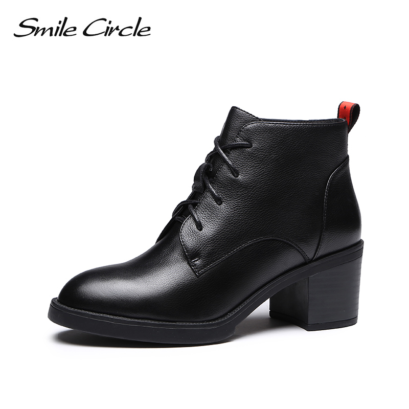 Smile Circle High-quality High heel Ankle Boots women Genuine Leather Simple Ladies Lace-Up Short Boots shoes 2018 Autumn boots women sexy high heel ankle boots with lock lace up patent leather boots autumn short boots wedding shoes women botas size 36 46