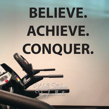 Believe Achieve Conquer Quote Wall Sticker Inspirational Quotes Decal DIY Cut Vinyl Gym Q74