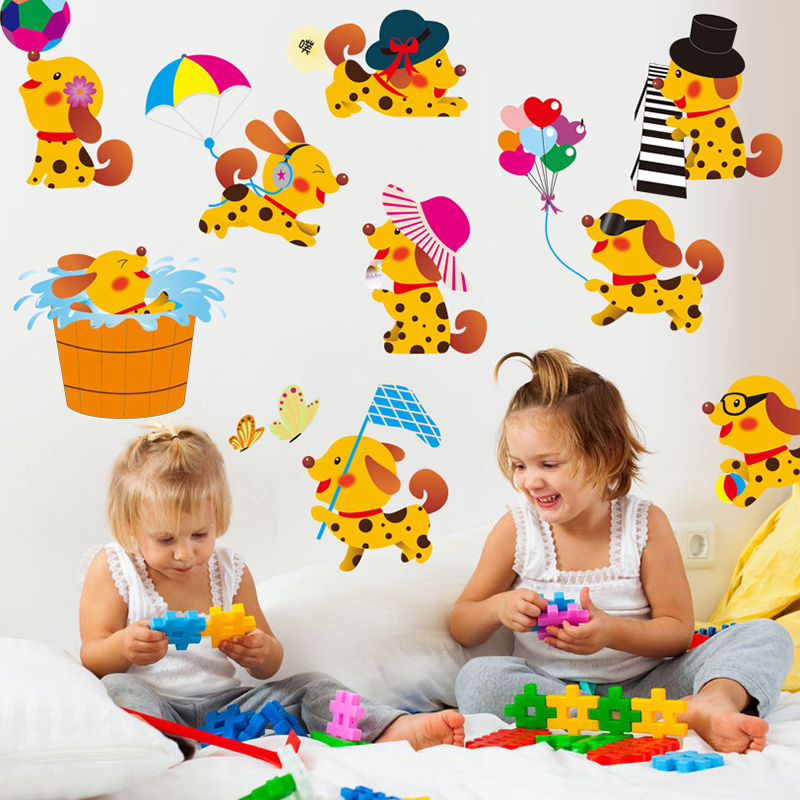 [SHIJUEHEZI] Yellow Dogs Wall Stickers PVC Material DIY Animals Play Game Wall Art for Kids Rooms Kindergarten Home Decoration