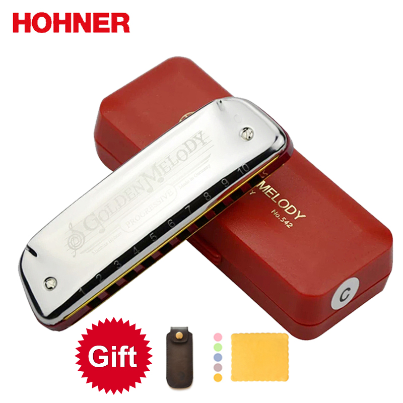 Hohner Golden Melody 10 Hole Diatonic Harmonica Blues Harp Gaita Standard 10 Hole Harp (with Red Box)