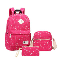 Милый Холст Рюкзак костюм для мальчиков, футболка + штаны для девочек-подростков Повседневная Путешествия Рюкзак deinger красная роза школьная сумка с кошелек 5 цветов