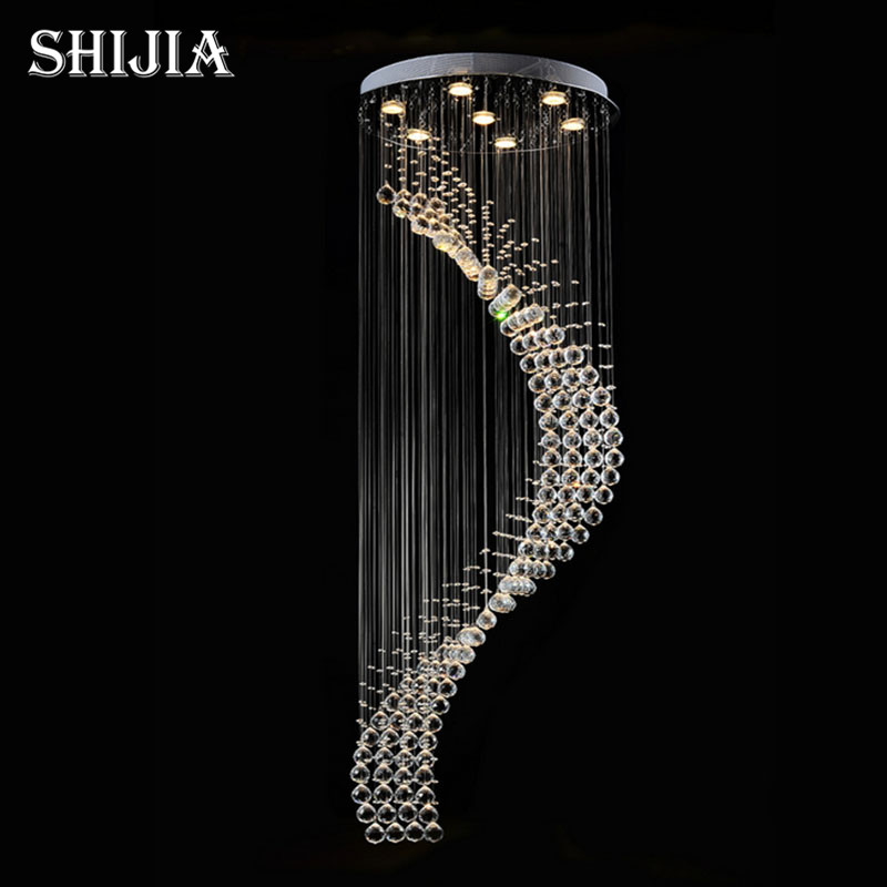 Modern K9 Crystal GU10 LED Mirror Stainless Steel Chandelier Luxury Spiral For Stair Hotel Villa Lighting