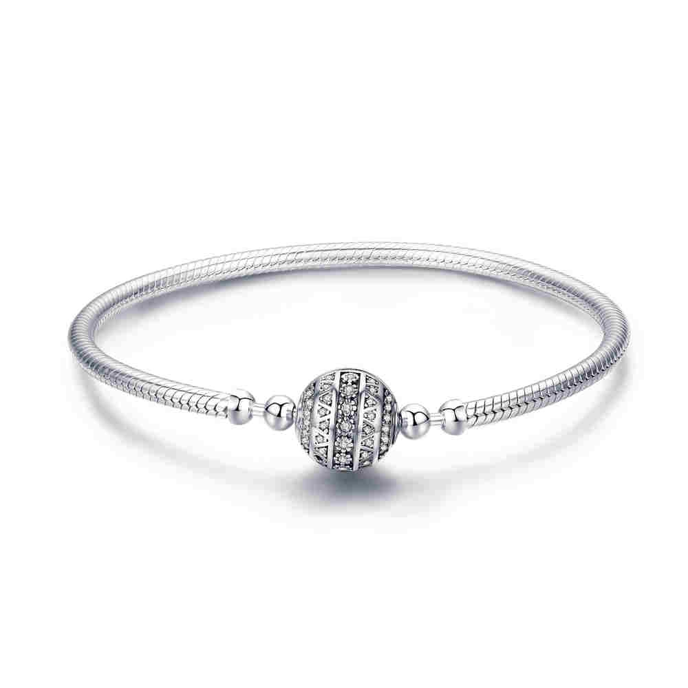 WOSTU Authentic 100% 925 Sterling Silver Dazzling Clear CZ Round Clasp Snake Chain Bracelet Sterling Silver Jewelry BKB062WOSTU Authentic 100% 925 Sterling Silver Dazzling Clear CZ Round Clasp Snake Chain Bracelet Sterling Silver Jewelry BKB062