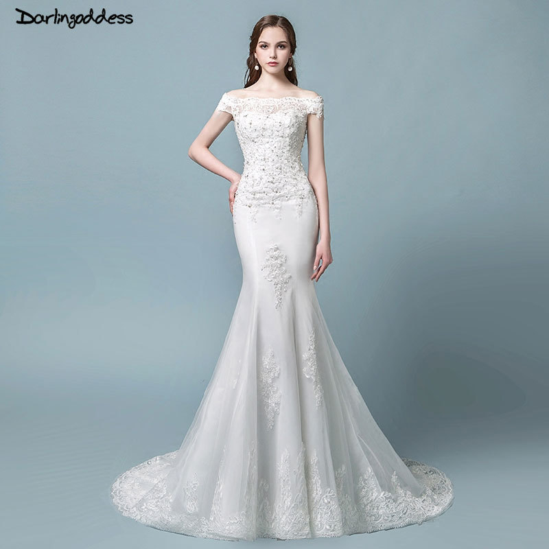 Robe de mariage Vintage Lace Mermaid Wedding Dress 2018 Short Sleeve Lace Up Elegant Wedding Gowns Bride Dress Vestido de noiva-in Wedding Dresses from Weddings & Events