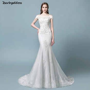 Robe de mariage Vintage Lace Mermaid Wedding Dress 2018 Short Sleeve Lace Up Elegant Wedding Gowns Bride Dress Vestido de noiva - DISCOUNT ITEM  30% OFF All Category