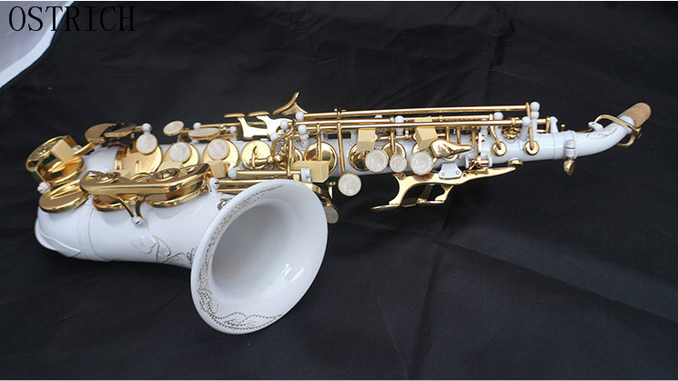 Marque Nouvelle Autruche Enfants/Saxophone tuyau B plat petit coude soprano Sax blanc en céramique
