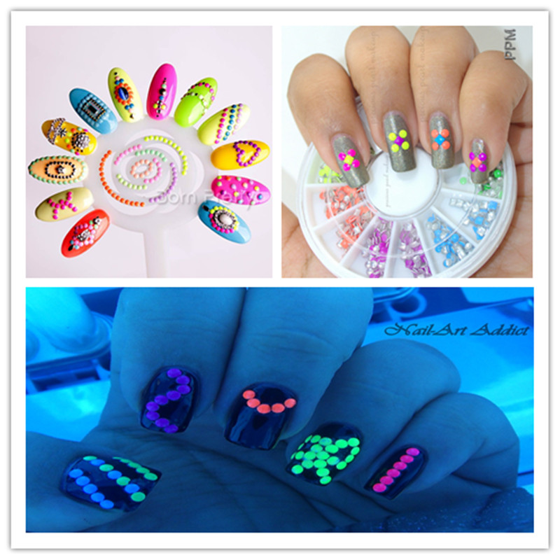 400pcs box neon round nail stud rhinestones rhinestones for 3d nail art decoration