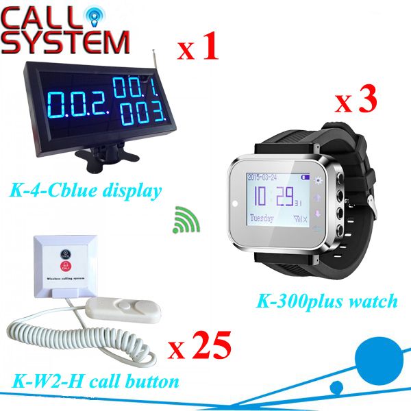 Clinic Paging System Of 1 Display 3 Wrist Pager For Nurse/Doctor And 25 Call Bell For Patient Free Shipping Free  hospital nurse call system 1 desktop lcd receiver 5 patient bell paging service shipping free