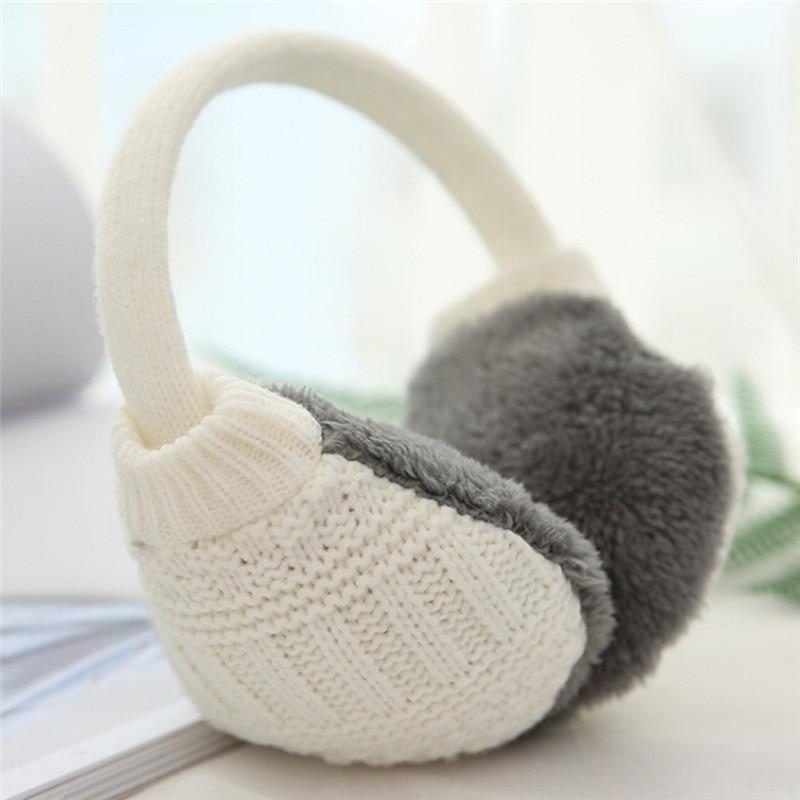 1PC Winter Ear Cover Knitted Plush Winter Ear Winter Earmuffs For Women Warm Unisex Ear Muffs Warmers Size:23 CM
