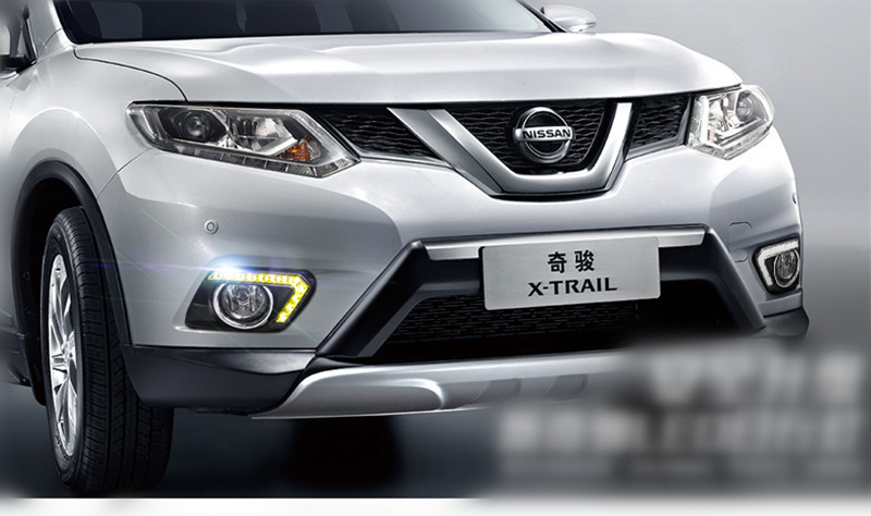 Turn Signal Style Relay With Fog Lamp Cover 12V <font><b>LED</b></font> DRL Daytime Running Lights For <font><b>Nissan</b></font> <font><b>X</b></font>-<font><b>trail</b></font> <font><b>X</b></font> <font><b>trail</b></font> Xtrail 2014 2015 image