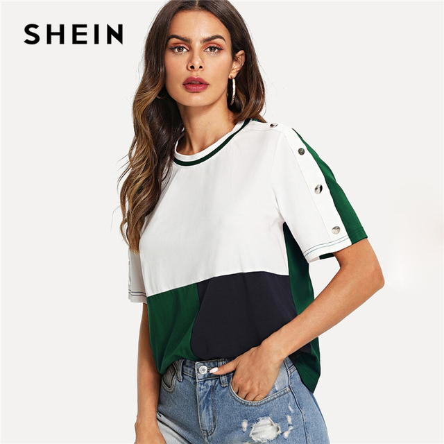 afa117fdb SHEIN Multicolor Colorblock Buttoned Sleeve Cut and Sew T-shirt Short  Sleeve Round Neck 2019 Summer Casual Women Tee Tops
