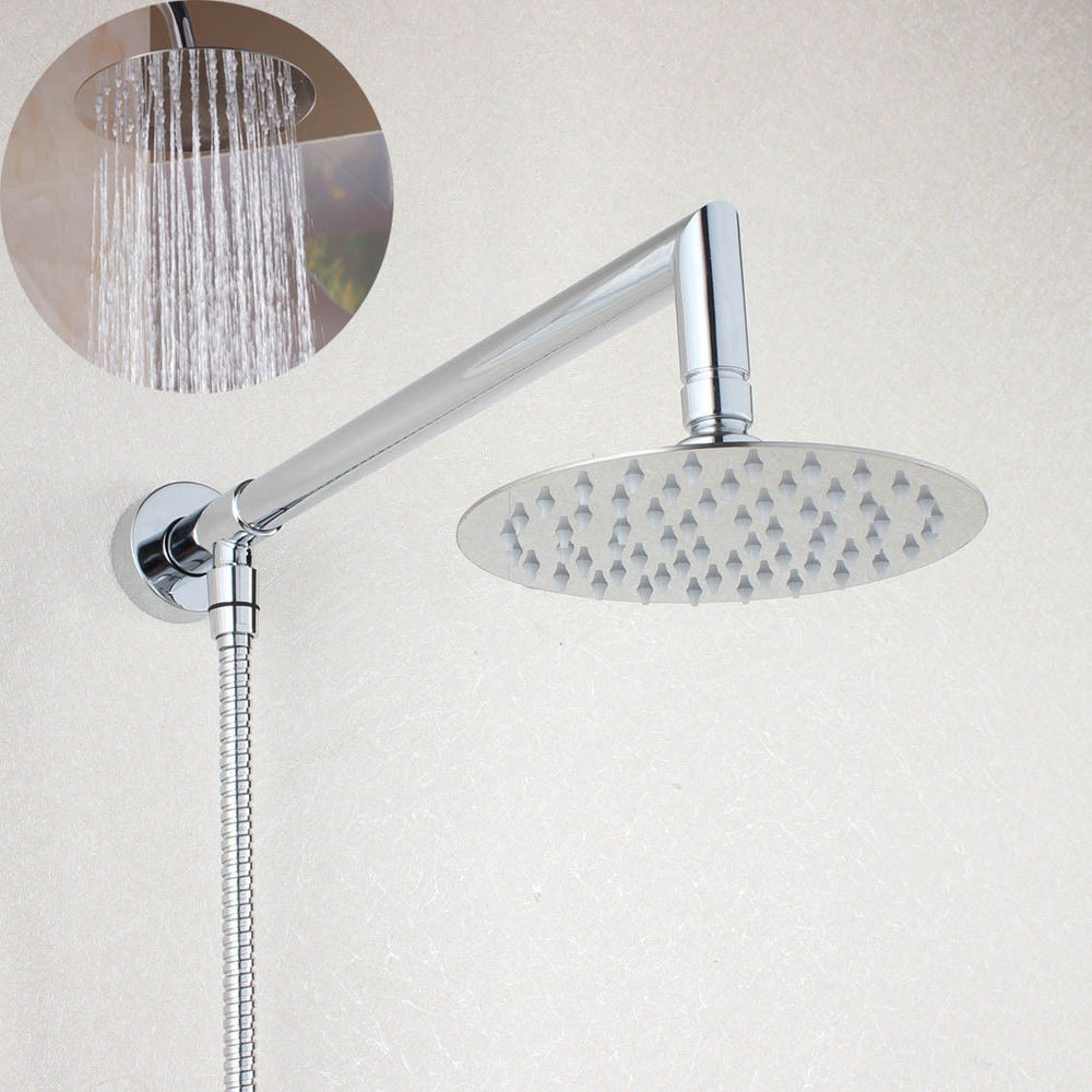 6 inch Round Rainfall Shower Head Extension with Shower Arm Bottom Entry 03 002in Shower Heads