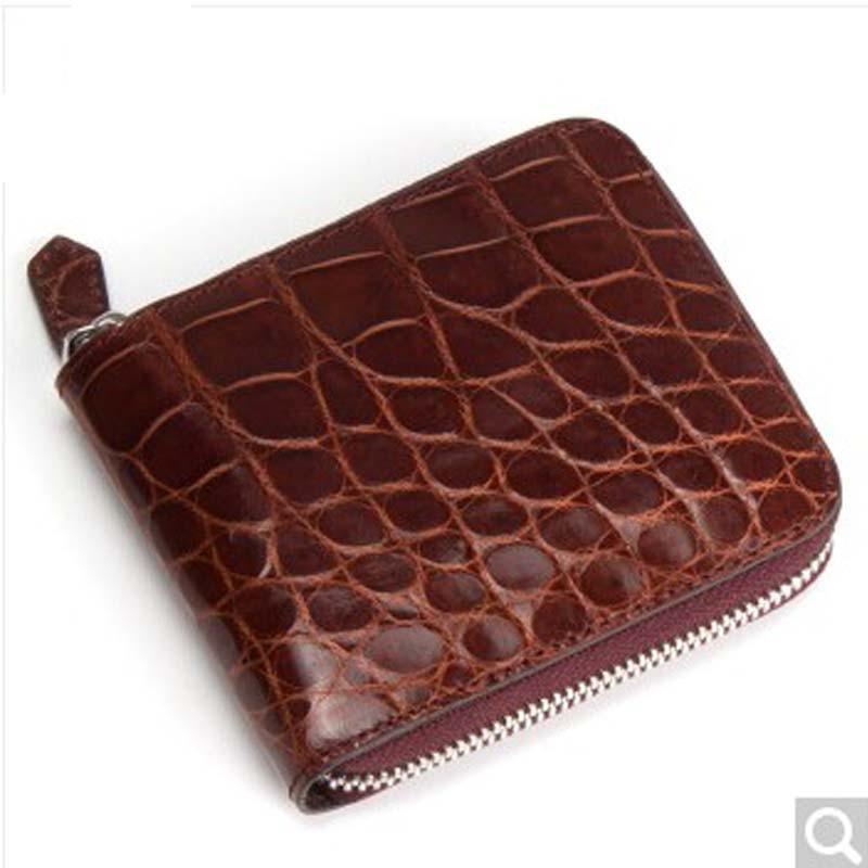 Nierkadeng Крокодил бумажник человек короткая молния мужской сумка крокодил живота сечение деньги кошелек