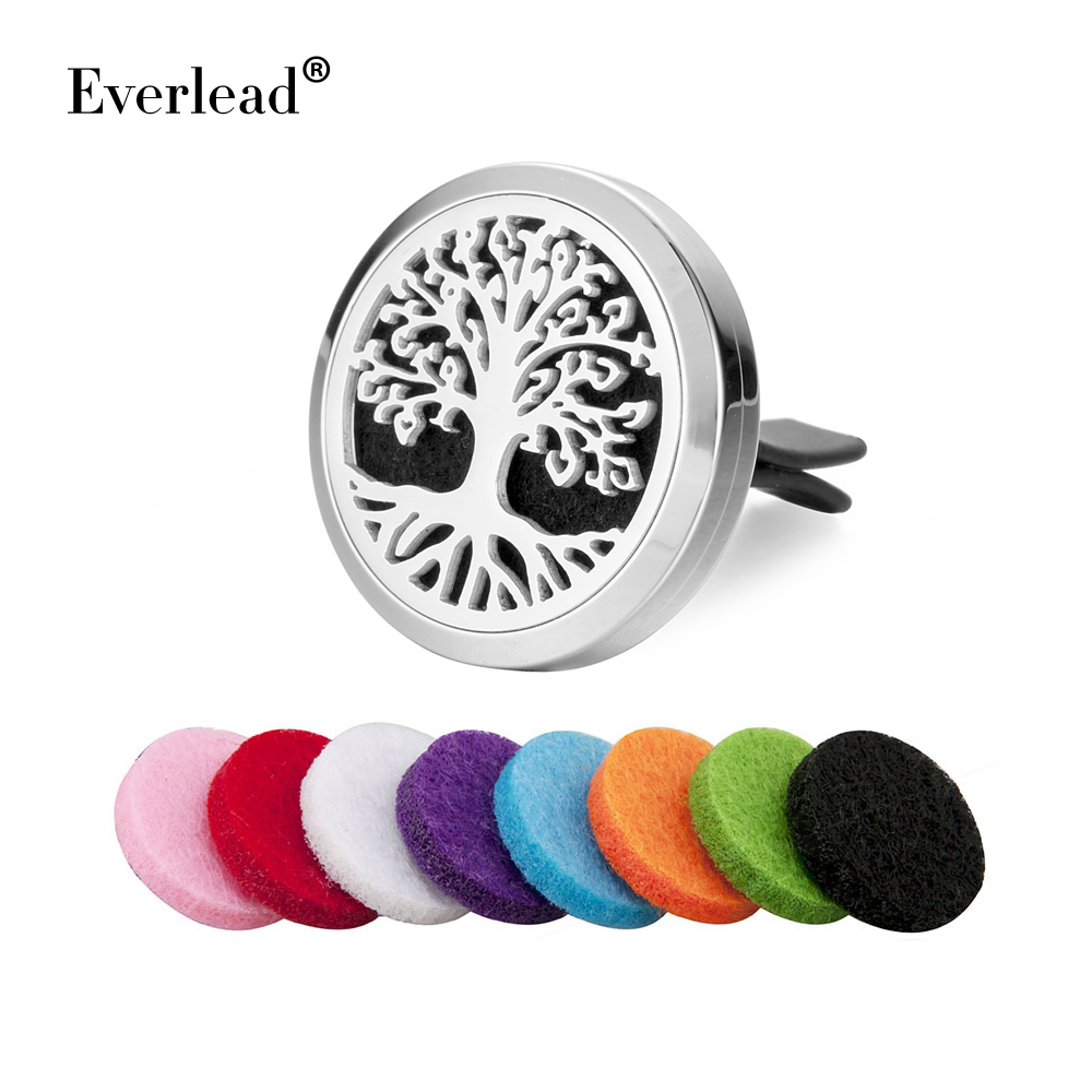 316L Stainless Steel Car aromatherapy Lockets 30mm tree of life Essential Oil Car Diffuser Lockets Magnetics Car Lockets