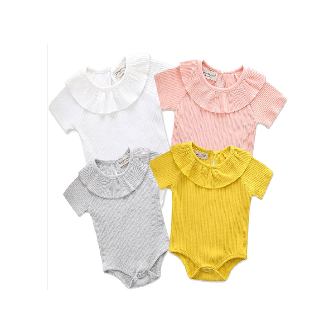 Cute Toddler Infant Baby Girl Boy Short Sleeve   Romper   Jumpsuit Rib Clothes Outfits Summer