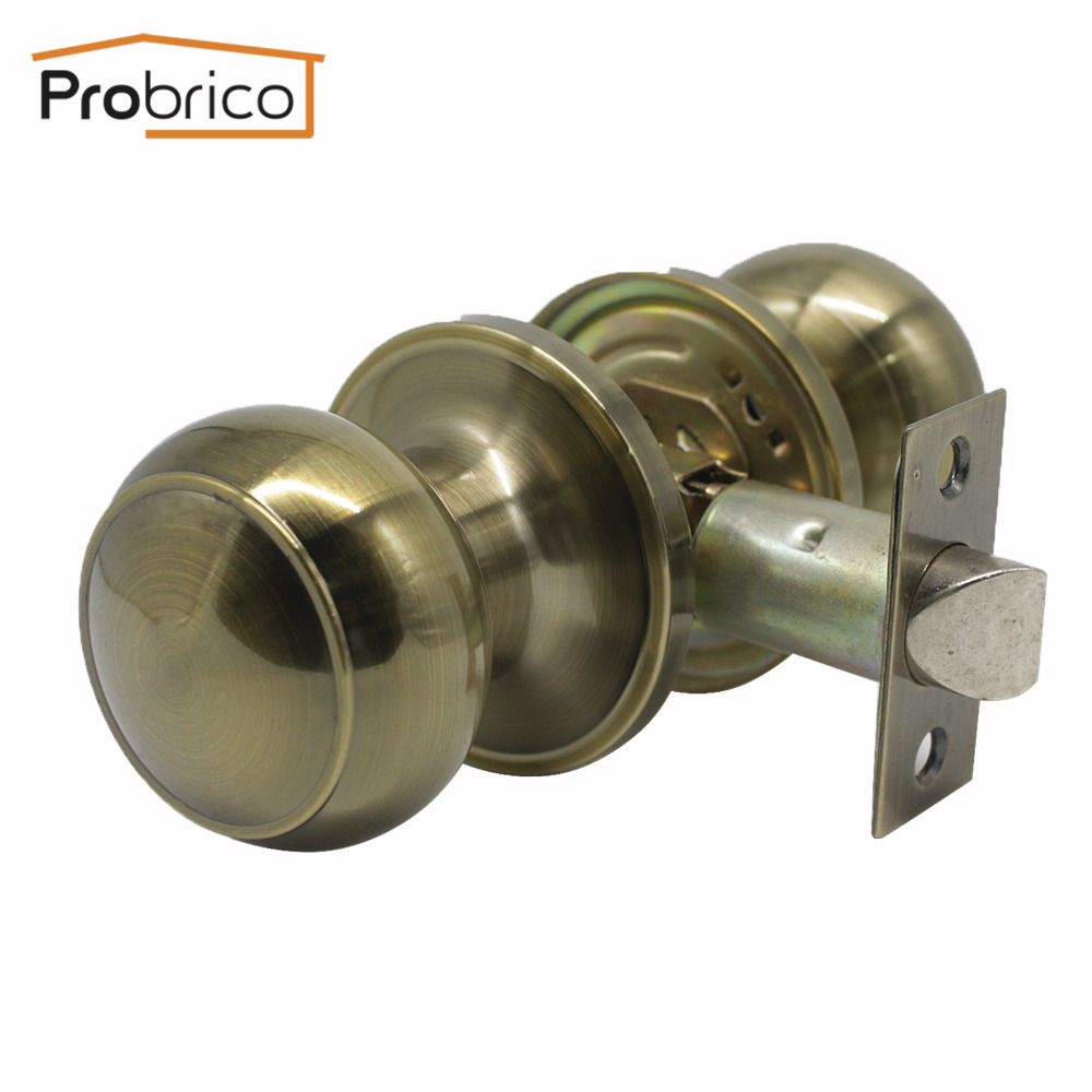 Probrico Keyless Passage Lock Antique Interior Bronze Door Locks Flat Ball Round Door Handles Vintage Passage Door Knob HardwareProbrico Keyless Passage Lock Antique Interior Bronze Door Locks Flat Ball Round Door Handles Vintage Passage Door Knob Hardware