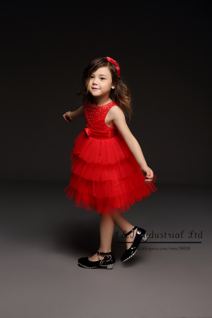 5587a0b9c243a Hot Sale New Arrival Girl Dress Red Lace Wedding Girls Party Dresses ...