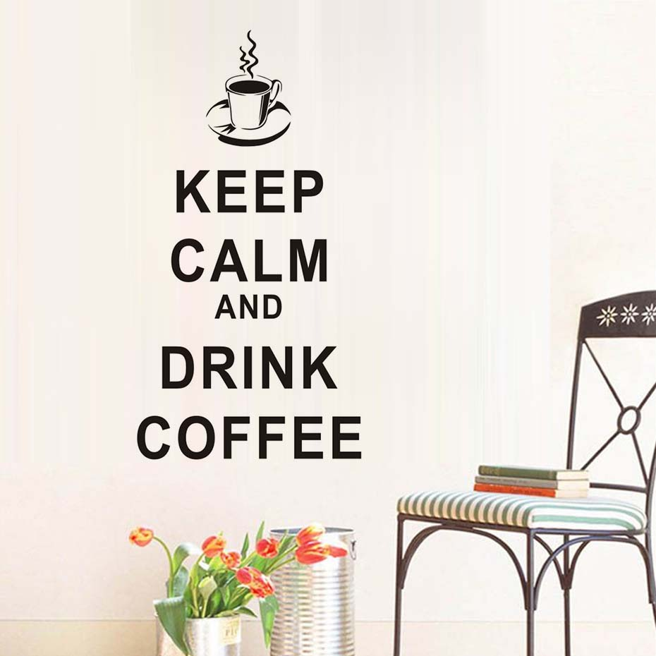 Keep Calm And Drink Coffee Wall Sticker Coffee Cup Removable PVC Wall Decals DIY Wallpaper For Kitchen Home Decor Office Mural