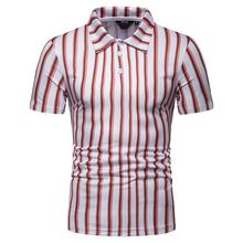 Lapel polo Shirt Summer Tops Casual Men Polo Tees New Striped Clothing Short sleeves Slim