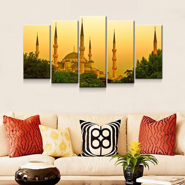 Leinwand Kunstdrucke 5 Panel Hauptdekoration Wandmalerei Set Istanbul Trkei Dmmerung Ansicht Decor Bilder Zeitgenssische Kunst Houseroom