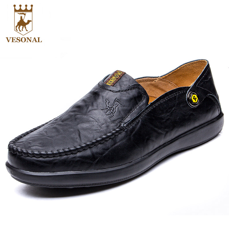 VESONAL Hot Sale Mocassin Male Genuine Leather Brand Casual Shoes Men Loafers Adult Footwear Man Ons Soft Boat Walking Driver vesonal footwear brand men shoes casual male moccasins driving for ons popular quality walking soft genuine leather loafers man