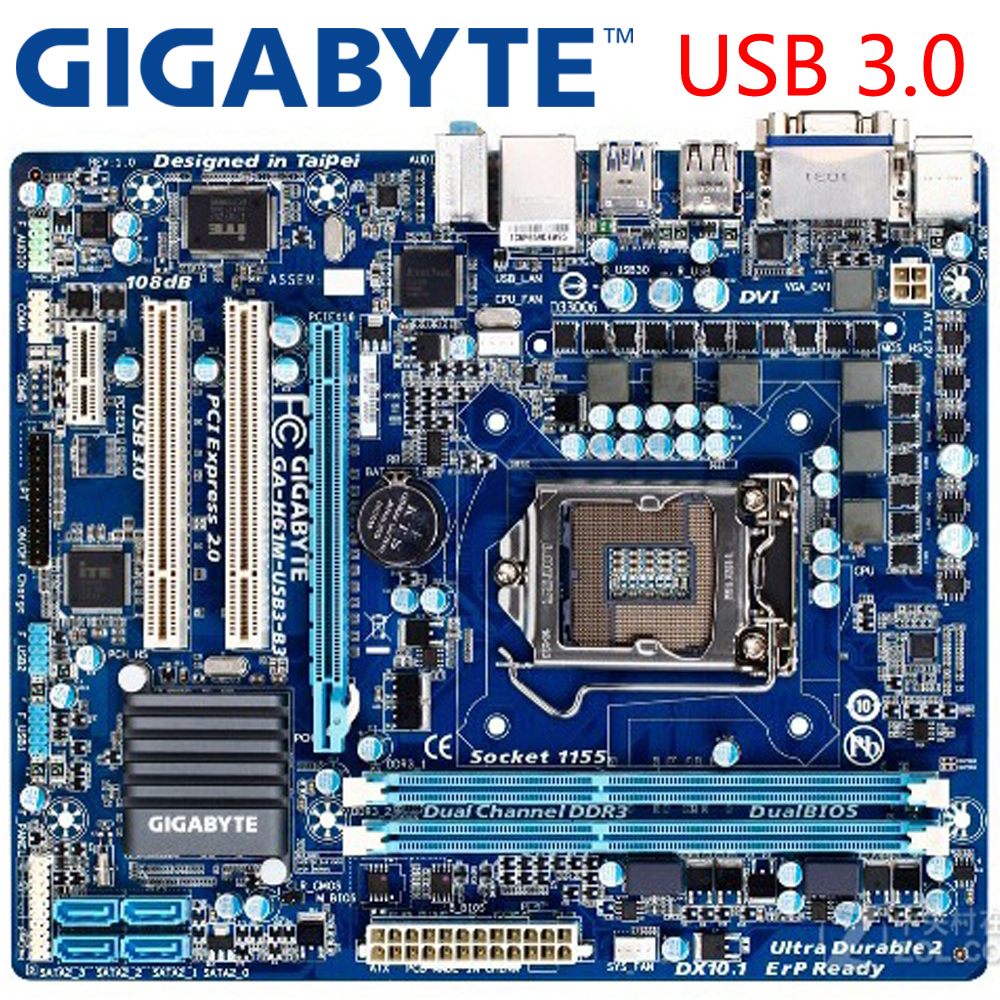 GIGABYTE GA-H61M-USB3-B3 Desktop Motherboard H61 Socket LGA 1155 i3 i5 i7 DDR3 16G u ATX Original H61M-USB3-B3 Used Mainboard